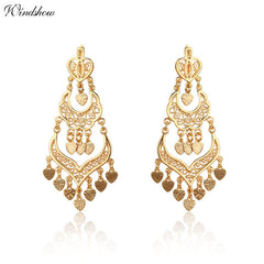 Gold Color Chandelier Filigree Heart Bohemian Big Drop Dangle Long Earrings Wedding Jewelry