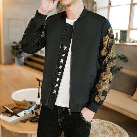 Gold Print Bomber Jacket Men Chinese Letter Print  Men Bomber Outwear Japanese Casual Male Jacket