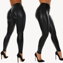 Black PU Legging Shiny Bling Faux Patent Leather Stretch Leggings High Waist Pants Slim Trousers