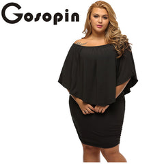 Gosopin Off Shoulder Dress Plus Size Multiple Layered Black Mini Dress Casual Big Women Clothes