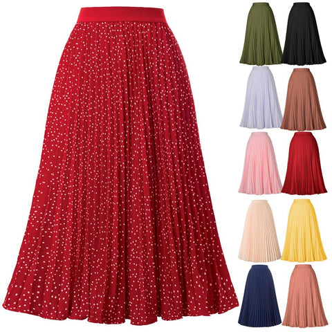 Grace Karin Casual High Waist Pleated A-Line Skirt Autumn Winter Flared Swing Midi Skirts