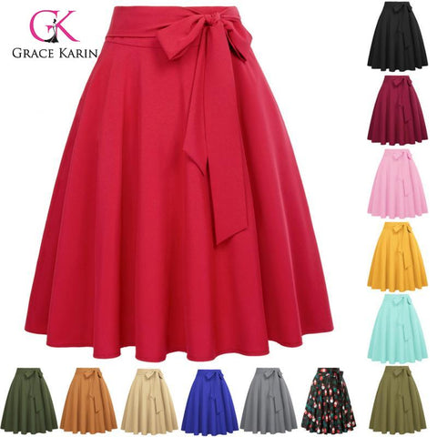 High Waist A-Line Skirt Vintage Self-Tie Bow-Knot Flared Midi Solid Color Skater Swing Skirt