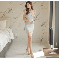 One Shoulder Ruffles Solid Party Dress Slim Gray Women Sheath Bodycon Pencil Split Summer Dress