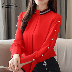 Blouses Solid Chiffon Blouse Shirt Office Work Wear Long Sleeve Women Shirts Tops Blouses