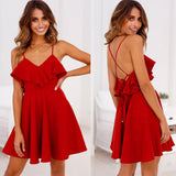 Summer Spaghetti Strap Solid Deep V-neck Dress Slim Fit Cross Backless Bundle Waist Ruffle