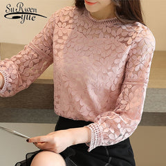 Womens Tops Blouses Long Sleeve Hollow Lace Shirt Blouse Lace Tops Shirts