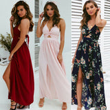 Floral Long Maxi Dress Party Beach Halter Backless Dresses Summer Holiday Sundress