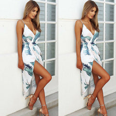 Women Floral Printed Midi Dress Evening Party V Neck Beach Dresses Summer Sundress