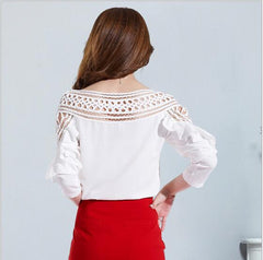 HMCHIME Chiffon Shirts Temperament Round Collar Ruffles Hollow Out Butterfly Sleeve Women Shirts