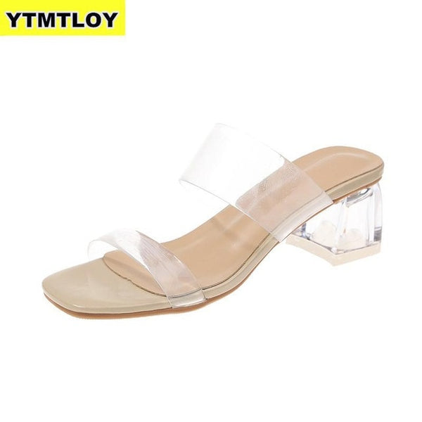 Heels Slippers Women Sandals Summer Shoes Transparent High Pumps Wedding Jelly Square Heels