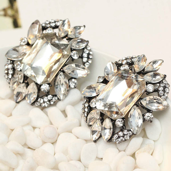 Women's Earrings Brand Sweet Metal Gems Stud Crystal Earring Girls