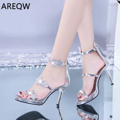 Women Pumps Crystal Shoes Peep Toe High Heels Sandals Party Wedding Shoes