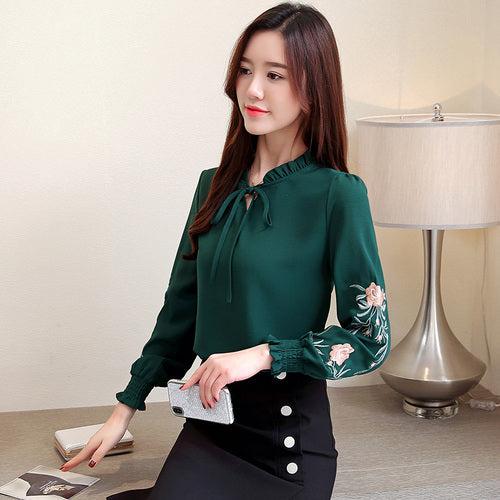 Plus Size Women Tops Floral Embroidery Chiffon Blouse Shirt Tops Blouses Long Sleeve