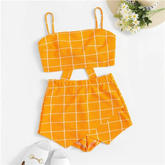 Grid Crop Back Tie Cami Top Shorts Set Plaid Summer Spaghetti Strap Stretchy Two Piece Set