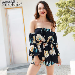 Casual Floral Print Boho Chiffon Rompers Women Jumpsuit Long Sleeve Slash Neck Off Shoulder Playsuit