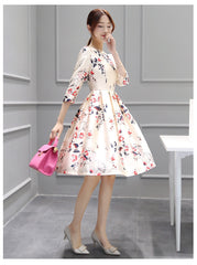 Women Summer White Natural Regular Mid-Calf Dress Print  A-Line Casual Polyester Dress Casual