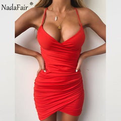 Deep V Neck Bodycon Dress Ruched Backless Cross Bandage Mini Summer Dress Red Black