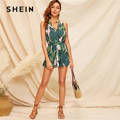 Boho Green Crisscross Tie Back Tassel Drawstring Tropical Women Summer Sleeveless Playsuit Rompers