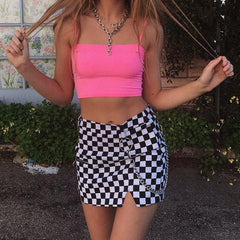 Plaid Skirt Women High Waist Micro Mini Skirt Chain Split Super Short Skirt Summer Streetwear