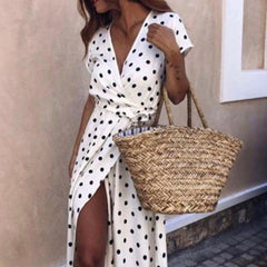 Summer Long Dress Red White Dot Beach Dress Maxi Women Evening Party Dress Sundress Vestidos