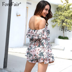 Bohemian Floral Ruffles Chiffon Jumpsuit Rompers Off Shoulder Slash Neck Casual Playsuit