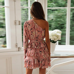 Summer Dress Boho Floral Mini Dress One Off Shoulder Long Sleeve Ruffle Sundress