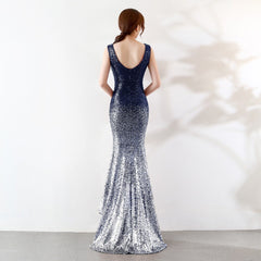 Summer Dress Women Gold Silver Sequin V Neck Evening Party Mermaid Gown Wedding Dress