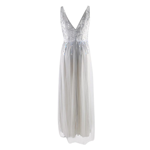 Women V Neck Dress Solid Chiffon Party Dresses Sleeveless Summer Casual Hollow Out Floor Length