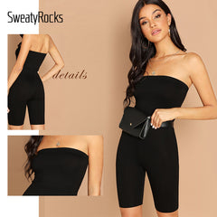 Black Skinny Glitter Strapless Tube Romper Sleeveless Streetwear Women Bodycon Playsuits Jumpsuits