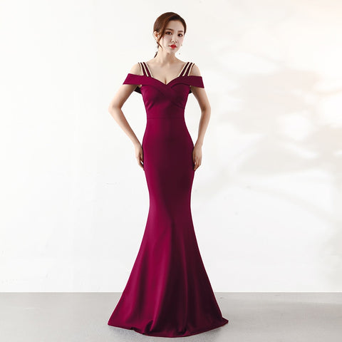 Wine Red Diamonds Spaghetti Strap Off Shoulder Long Mermaid Dress Women Wedding Party Cocktail Club Dresses