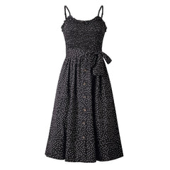 Summer Sleeveless Women Dot Dress Bandage Casual Streetwear Slim High Waist Ruffles Dresses