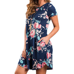 Short Sleeve Flower Print Boho Dresses Women Round Neck Party Summer Dress