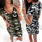 Summer Women Bodycon Dress Casual V-Neck Short Sleeve Camouflage Print Vintage Slim Short Dresses