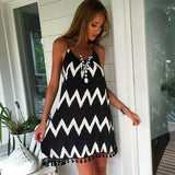 Women Loose Beach Dress Summer Hippie Beach Wear Wave Printed Tassel Spaghetti Strap Dress