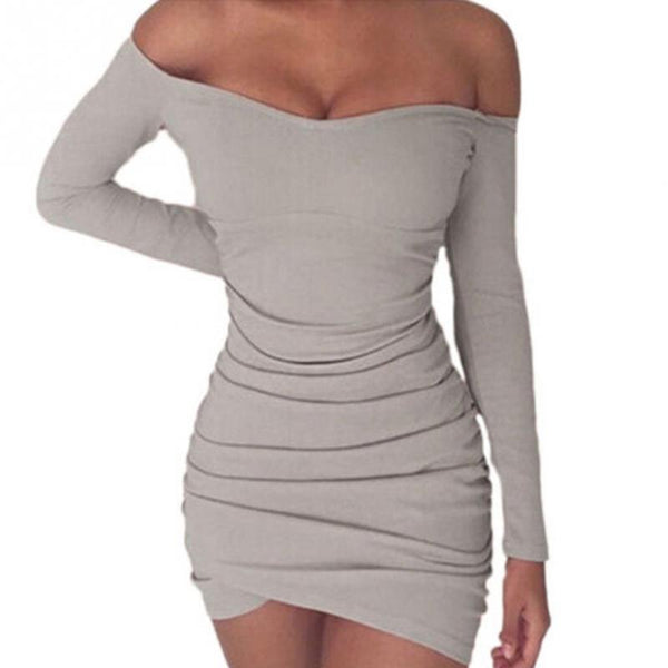 Autumn Women Knitting Bodycon Pencil Dress Long Sleeve Off Shoulder Slim Mini Party Pack Hip Dress