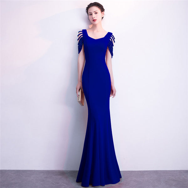 Blue Asymmetrical Neckline Hollow Out Beaded Short Sleeve Dress Slim Mermaid Long Dresses