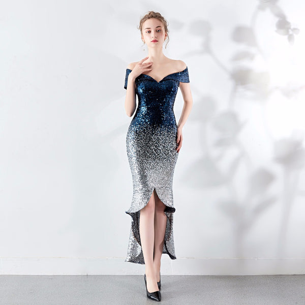 Black Red Sequin V Neck Off Shoulder Short Sleeve Ankle-Length Mermaid Club Dresses Woman Party Night Dress