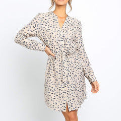 Casual Dresses Women Summer Floral Print Office Shirt Dress Vintage V Neck Long Sleeve Mini Dress