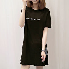 Plus Size WONDERFUL DAY Print Long T Shirts Summer Women Loose Slit Tops Cotton Short Sleeve T-shirt