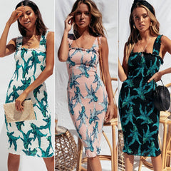 Sleeveless Pullover Bohemian Casual Spring Summer Floral Midi Dress Spaghetti Strap