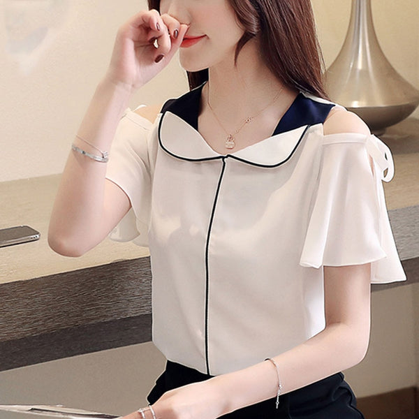 Women Blouse & Tops White Blouse Shirts Ladies Tops Chiffon Shirts V-Neck Flare Sleeve