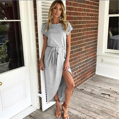 Women High Waist Split Sashes Maxi Dress Short Sleeves O-neck Long Irregular Dresses Summer Loose