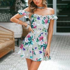 Ruffle Off Shoulder Floral Mini Dress Summer Backless Bow Tie Beach Party Dress Vestidos