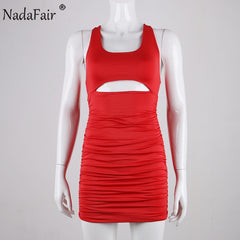 Summer Mini Bodycon Dress Women Ruched Hollow Out Backless Wrap Bandage Halter Club Party Dress Red