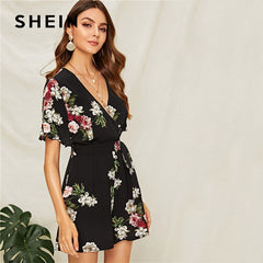 Floral Neck Flounce Sleeve Belted Summer Rompers Women Boho Mid Waist Jumpsuit Playsuit