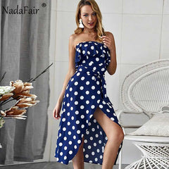 Boho Polka Dot Midi Dress Ruffles Strapless Sash Summer Asymmetrical Party Chiffon Dress