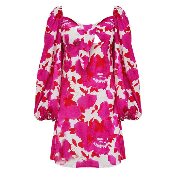 Floral Print Short Long Sleeve Mini Cotton Square Collar Bow Prom Summer Dress