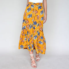 Summer Maxi Skirt Boho Floral Print Bohemian Long Skirt Women Button High Waist Skirts