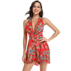 Casual Floral Print Lace Up Short Playsuit Deep V Neck Belt Jumpsuit Summer Mono