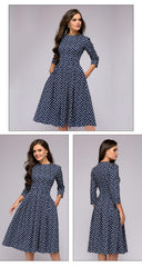 A-line Dress Vintage printing Party Three Quarter Sleeve women Autumn Winter Dress